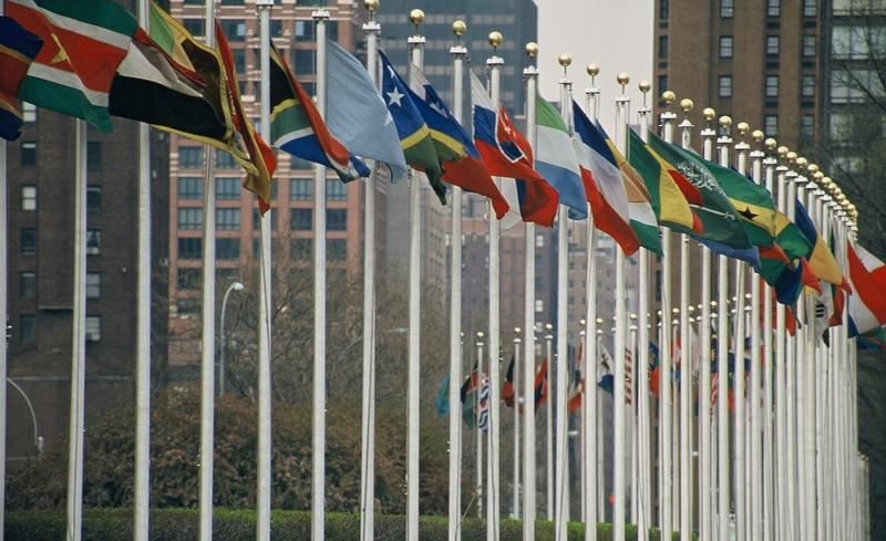 Flags outside the United Nations headquarters in New York.