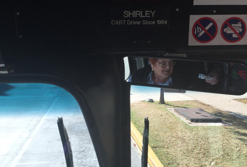 Shirley seen from the rearview mirror