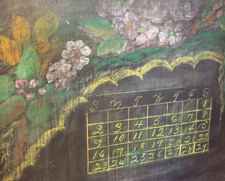 One of the newly discovered 1917 chalkboard drawings from Emerson High School in Oklahoma City.