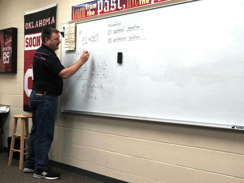 Jason McMullen teaching a math class at Har-ber High School in Springdale, Arkansas.
