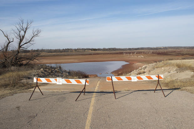 In January 2015, drought stricken Waurika Lake was dangerously low.
