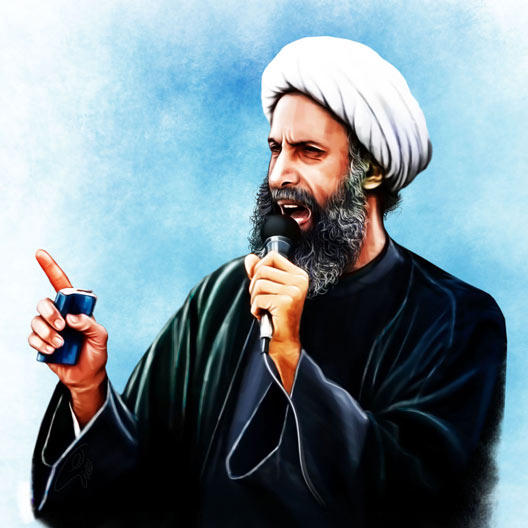 The portrait of Nimr Baqr al-Nimr, the recently deceased Shia cleric in al-Awamiyah, Eastern Province, Saudi Arabia.