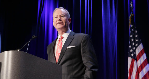 Oklahoma City Mayor Mick Cornett during the January 13, 2016 State of the City address during a Greater Oklahoma City Chamber luncheon.
