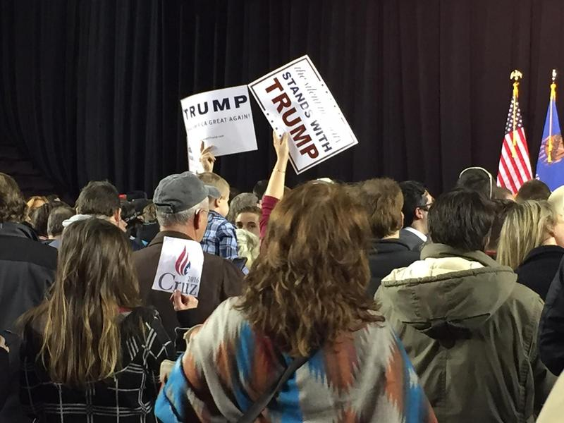 Supporters of Donald Trump (and other candidates) gather at Oral Roberts University's Mabee Center Wednesday for a campaign rally.