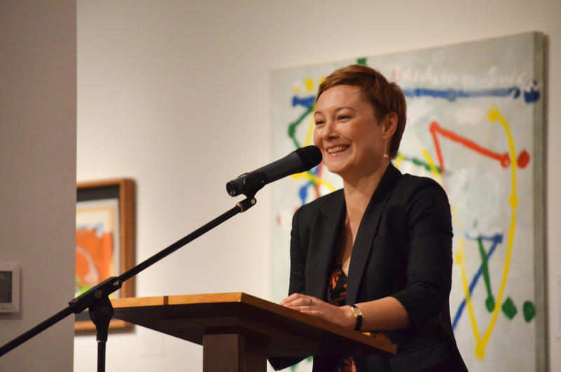 Poet Valzhyna Mort reading at the 2015 Neustadt Festival opening night, October 21, 2015.