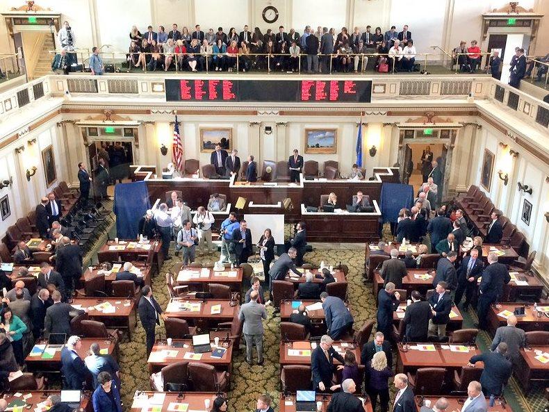 Lawmakers gather in the House chamber at the state Capitol before Gov. Mary Fallin delivers her 2016 State of the State address.
