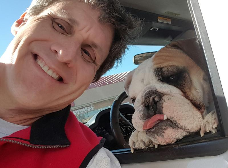 KGOU listener Keith Gaddie and his bulldog, Georgia.