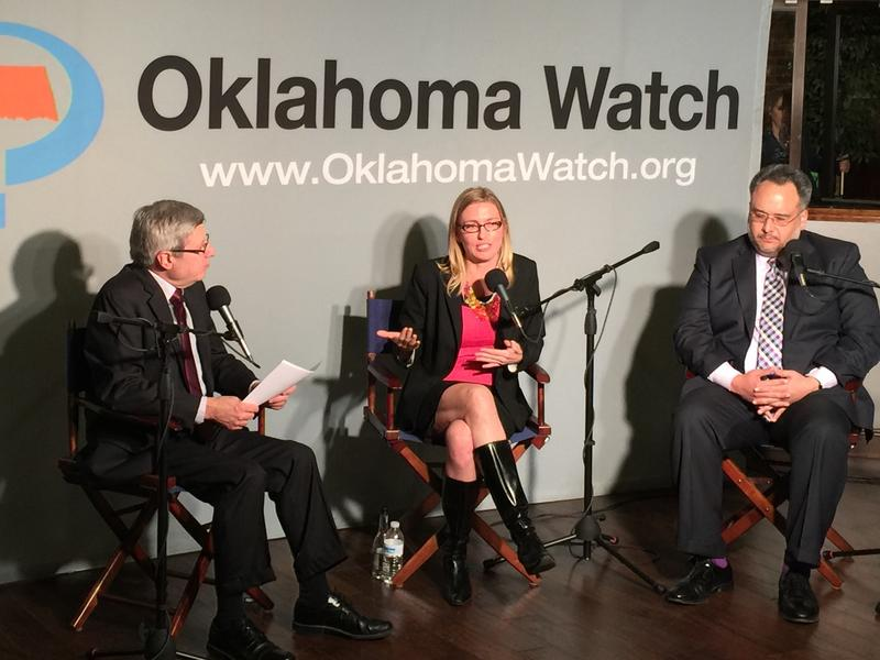 Oklahoma Watch executive editor David Fritze, Oklahoma Mental Health and Substance Abuse Services commissioner Terri White, and Oklahoma Health Care Authority CEO Nico Gomez.