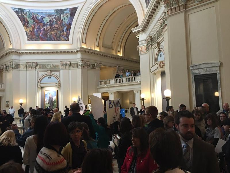 The halls of the state Capitol filled with residents Monday opposing the consolidation of rural schools.
