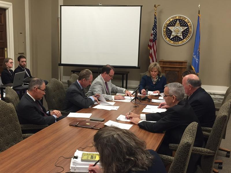 Gov. Mary Fallin leads Tuesday's meeting of the State Board of Equalization at the state Capitol.