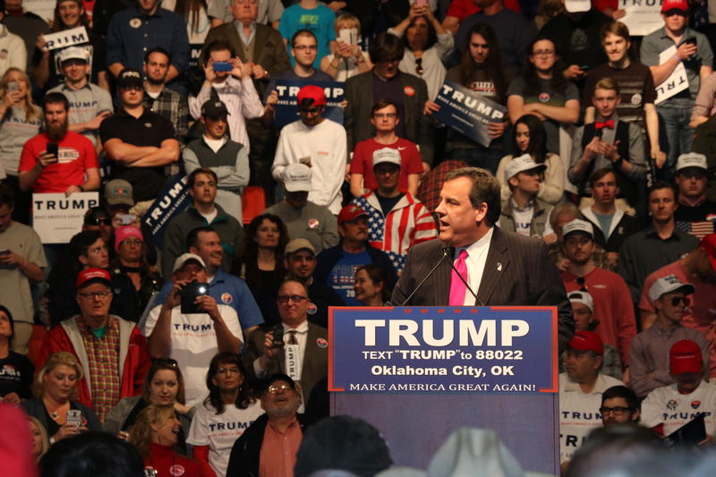 New Jersey governor Chris Christie introduces Donald Trump at a campaign rally in Oklahoma City on February 26, 2016.