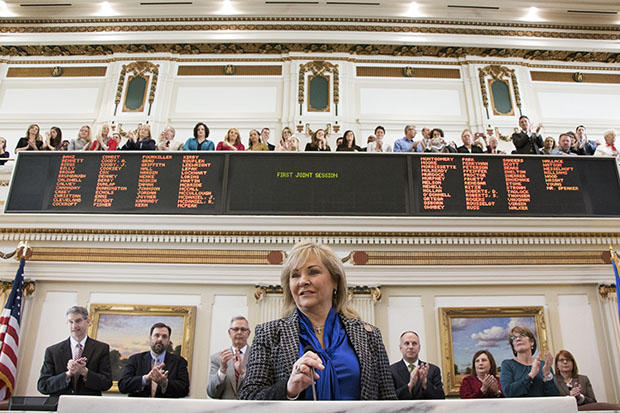 Gov. Mary Fallin delivers her 2016 State of the State address before Monday's joint session of the Oklahoma House and Senate.