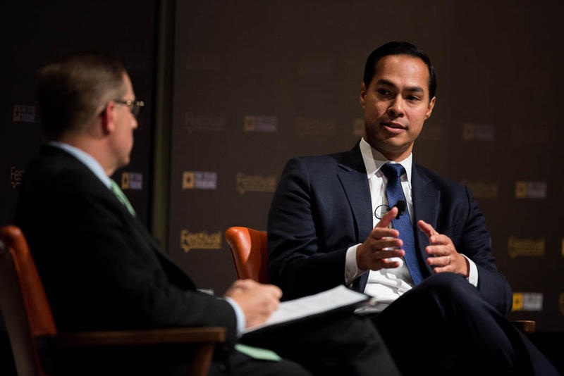 U.S. Housing and Urban Development Secretary Julián Castro is interviewed by Texas Tribune CEO and Editor-in-Chief Evan Smith on Oct. 18, 2015.