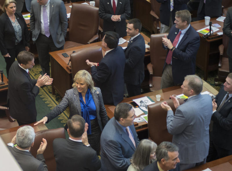 "Gov. Mary Fallin enters the House chamber to deliver her ""State of the State"" address on Feb. 1. Political observers say she will need to work intensely behind the scenes to succeed in pushing through the revenue-raising measures she proposed."