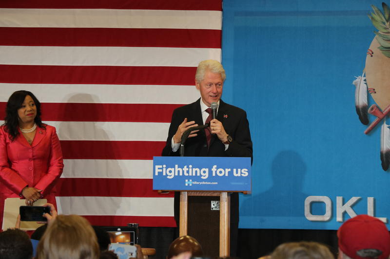 Former President Bill Clinton campaign on behalf of his wife, Hillary Clinton, at Northeast Academy in Oklahoma City on February 21, 2016.