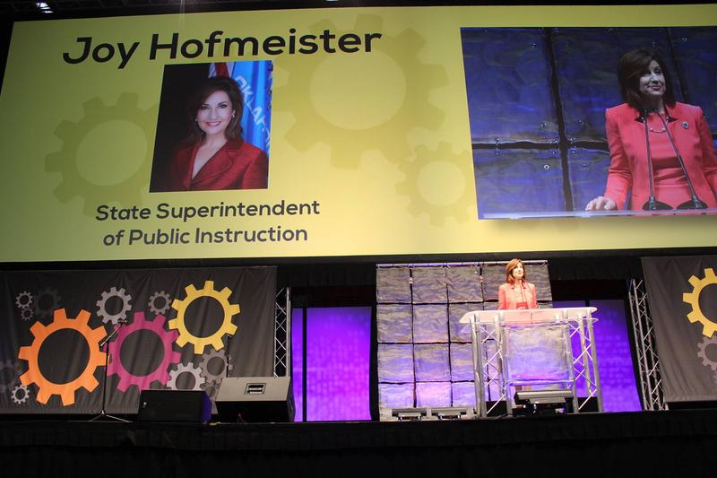 State Superintendent Joy Hofmeister delivers a speech during the 2015 EngageOK conference in Oklahoma City.