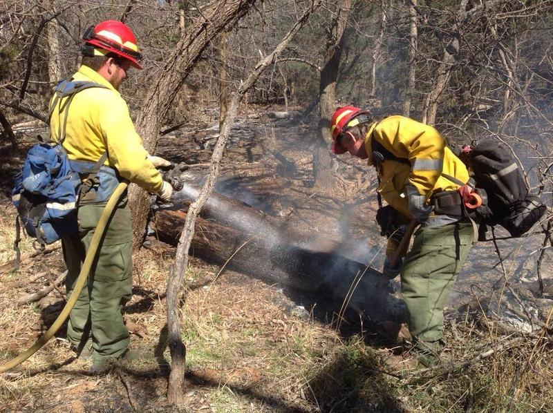 Oklahoma Forestry Services fire crews respond to hotspots in northern Oklahoma during the Anderson Creek wildfire that's burned hundreds of thousands of acres.