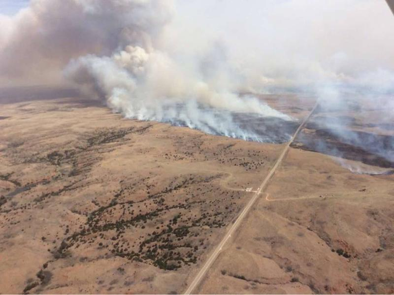 The Anderson Creek fire that started near Alva in Woods County, Oklahoma.