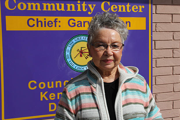 Pat Starbuck outside the Choctaw Nation Community Center in Talihina.
