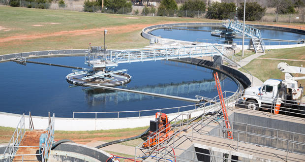 The city of Oklahoma City's Chisholm Creek Wastewater Treatment Plant at Coffee Creek Road and N. Western Avenue in Edmond.