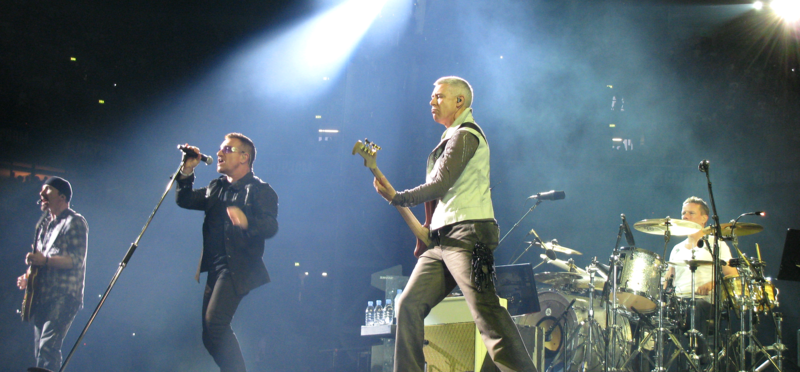U2 performing on one of their concerts of the 360° tour in Gelsenkirchen, Germany on August 3, 2009.