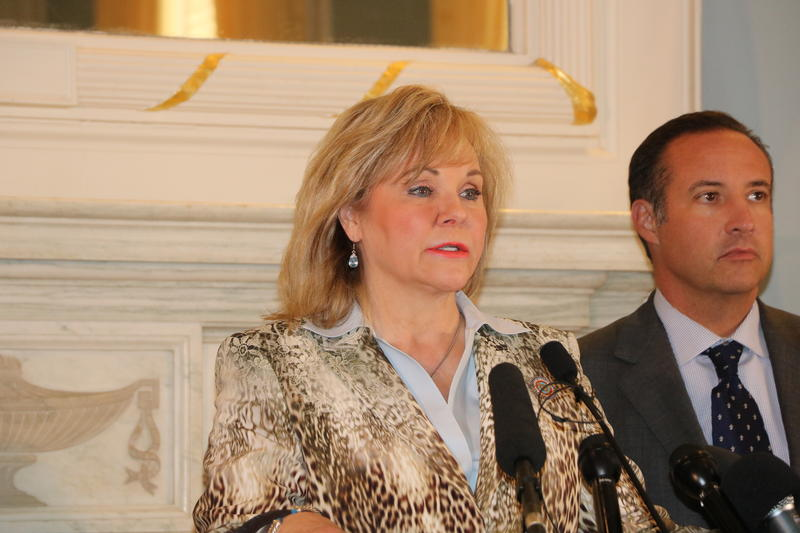 Gov. Mary Fallin addresses the media at the state capitol on April 13, 2016.
