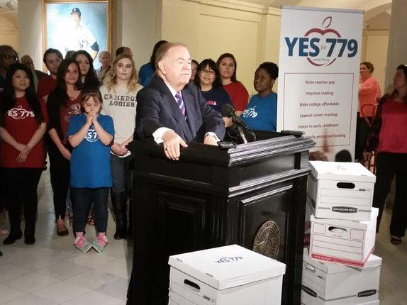 University of Oklahoma president and former governor and U.S. Senator David Boren during a press conference Thursday as his group delivers 300,000 signatures to the Secretary of State's office.
