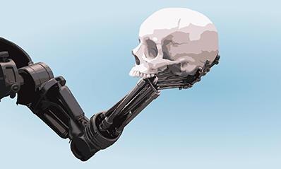 robot arm holding human skull