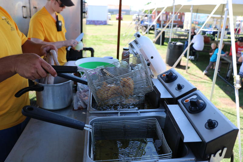 Mike Hippard deep fries rattlesnake in beer batter at the Snack Shack at the Okeene Rattlesnake Roundup on April 22, 2016.