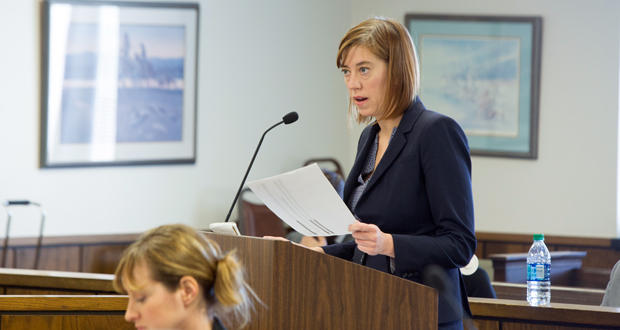 Kristin Henry, an attorney with the Sierra Club, speaks during a hearing at the Oklahoma Corporation Commission Tuesday. The Sierra Club is one of nine parties intervening in the case involving Oklahoma Gas & Electric Co.'s request to install scrubbers.