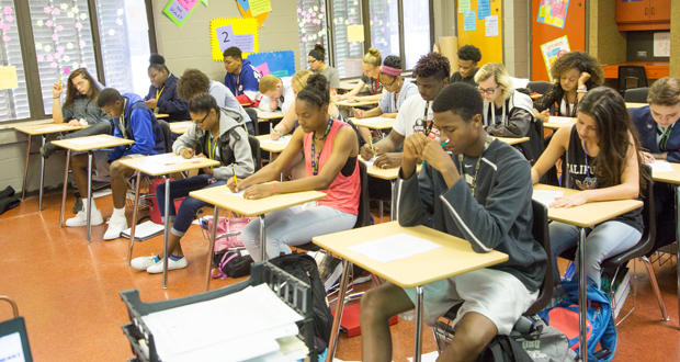 Students in Stephanie Gragg's English class prepare for a test at Midwest City High School.
