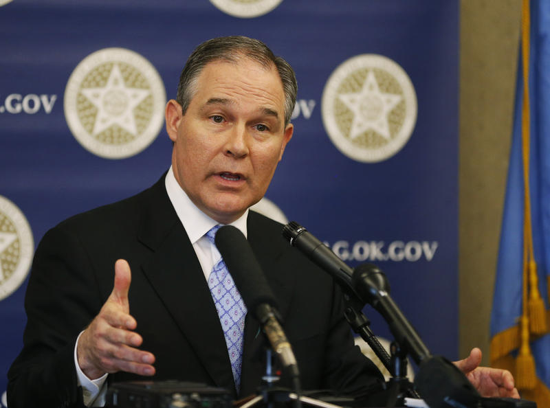 Scott Pruitt, Oklahoma attorney general, gestures as he speaks at a news conference in Oklahoma City, Monday, April 8, 2013.