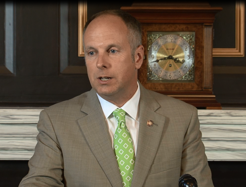 House Speaker Jeff Hickman, R-Fairview, during a May 5, 2016 press conference to address Oklahoma's budget situation.