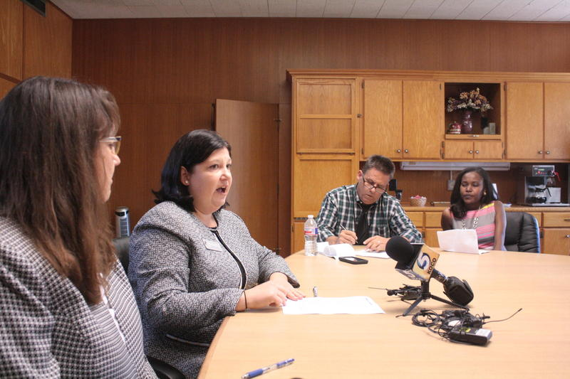 Interim Superintendent Aurora Lora talks with reporters Tuesday about the latest cuts to Oklahoma City Public Schools.