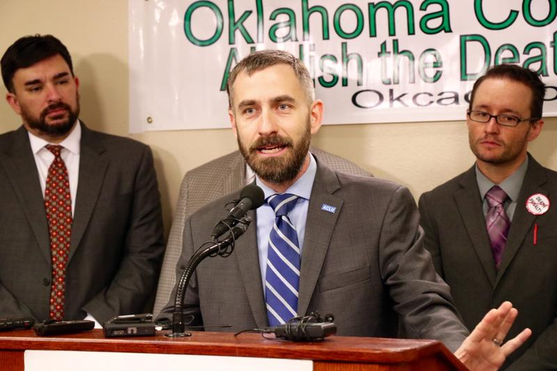 ACLU of Oklahoma Executive Director Ryan Kiesel speaks at the Capitol on May 20, 2016 about the grand jury's findings on the state's execution protocol