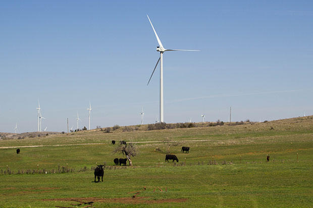 The Blue Canyon Wind Farm near Carnegie, Okla.