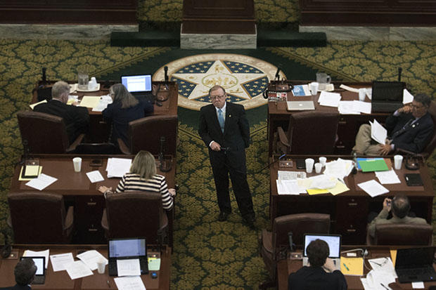 Earl Sears, R-Bartlesville, listens to questions on the Oklahoma House of Representatives floor on May 27, 2016.