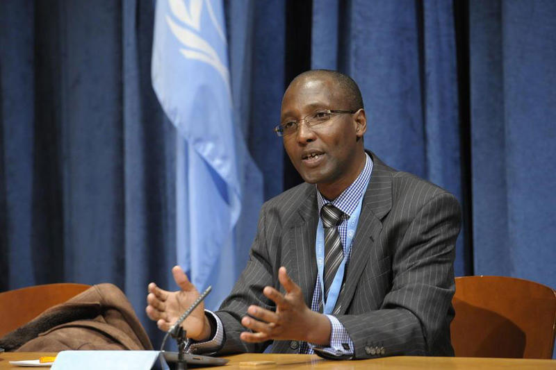 Mutuma Ruteere, Special Rapporteur on contemporary forms of racism, racial discrimination, xenophobia and related intolerance, briefs journalists at UN Headquarters, November 5, 2012.