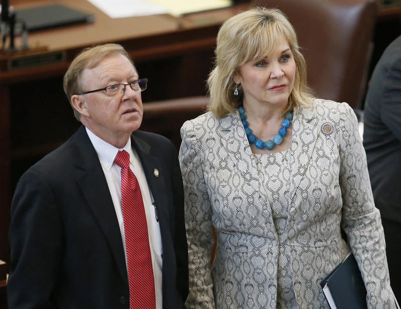 Gov Mary Fallin on the floor of the state Capitol during a House vote on Wednesday.