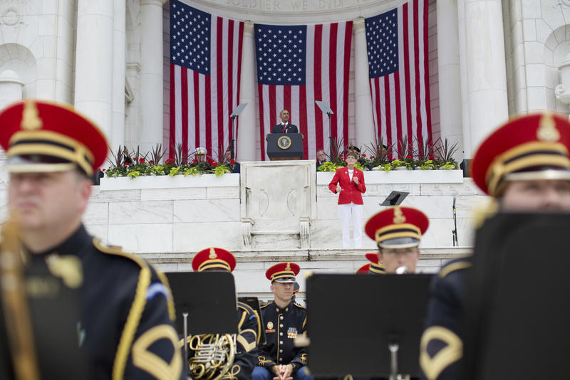 President Barack Obama speaks in the Memorial Amphitheater at Arlington National Cemetery in Arlington, Va., Monday, May 30, 2016, during a Memorial Day ceremony.