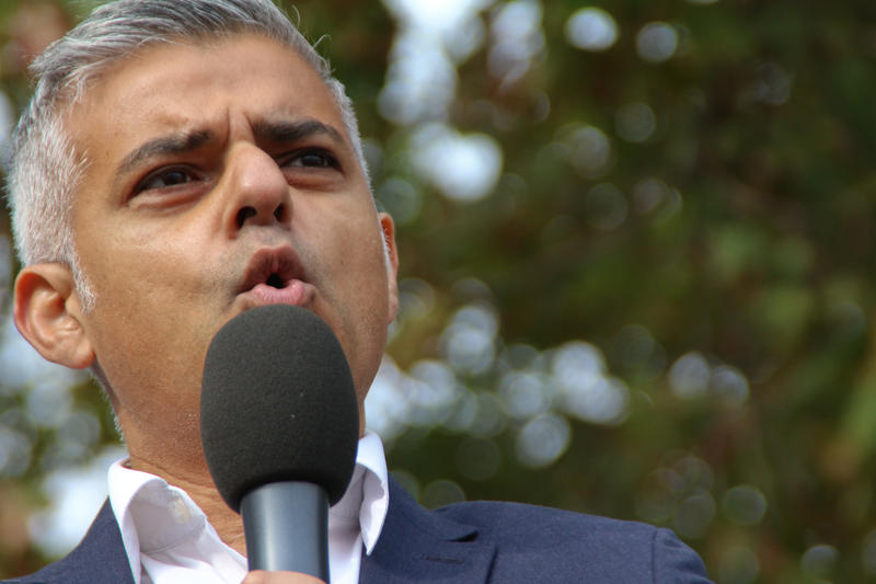 Then-candidate Sadiq Khan during a protest in Parliament Square against expansion at London's Heathrow Airport, October 10, 2015.