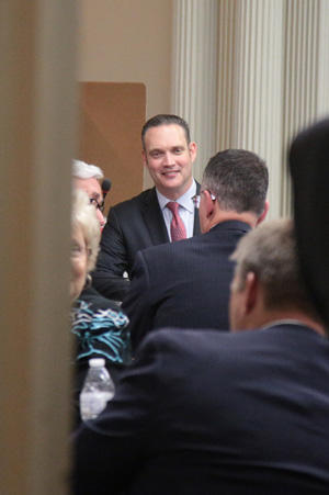 House Speaker-designate Charles McCall talks with fellow Republicans outside the GOP caucus room in the Oklahoma state Capitol Monday.