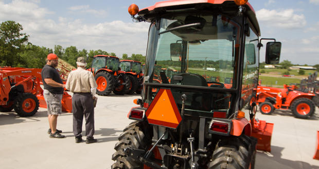A man shops for a tractor at Great Plains Kubota in Edmond.