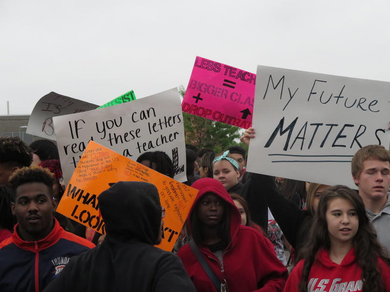 Students rally against Oklahoma City Public Schools budget cuts in May 2016.