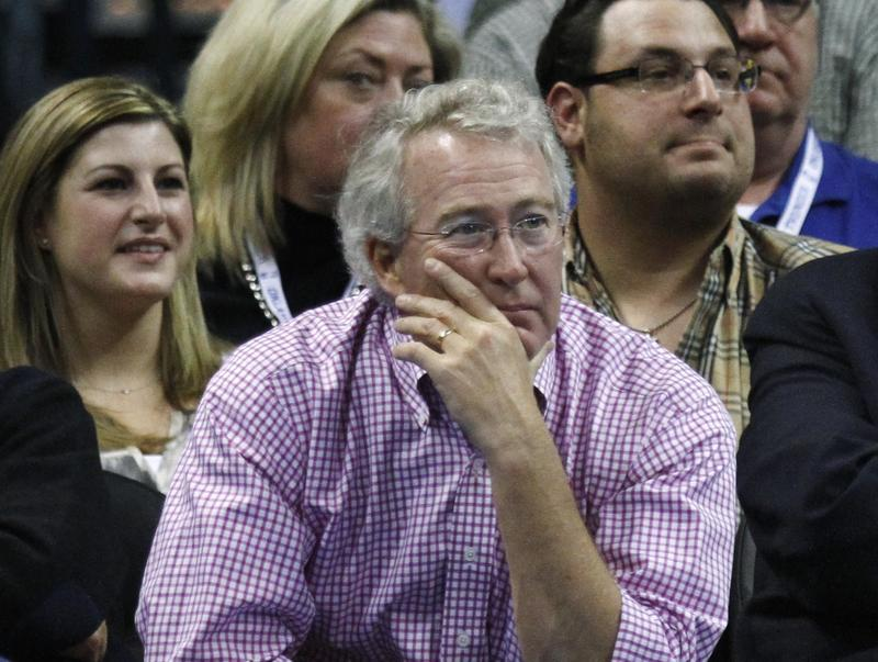 Aubrey McClendon watches an NBA basketball game against the Denver Nuggets in Oklahoma City, Sunday, February 19, 2012.
