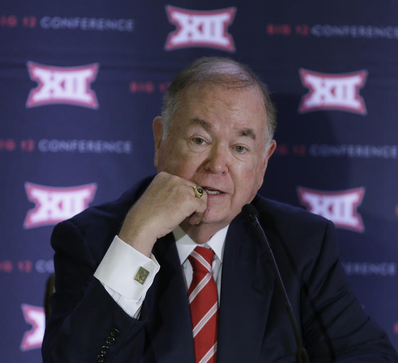 University of Oklahoma President David Boren speak to reporters after the second day of the Big 12 sports conference meetings in Irving, Texas, Thursday, June 2, 2016.