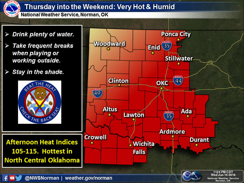 Oklahomans will face temperatures in the high 90s and heat index values near 110 degrees.