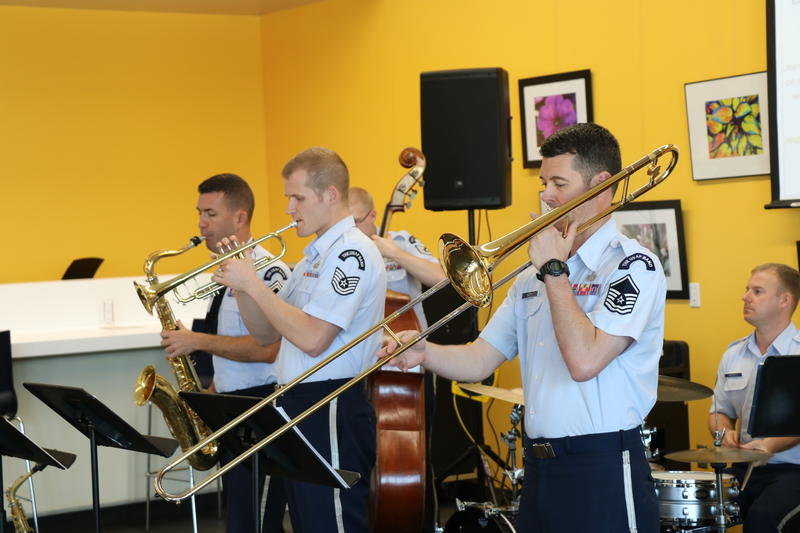 Members of the USAF Airmen of Note perform at Norman Public Library West on June 17, 2016.
