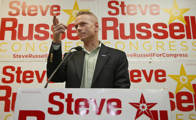 Incumbent U.S. Rep. Steve Russell, R-Oklahoma, following his victory in Tuesday's primary election over conservative challenger Frank Volpe. Russell will face the winner of the Democratic primary runoff and Libertarian Zachary Knight.
