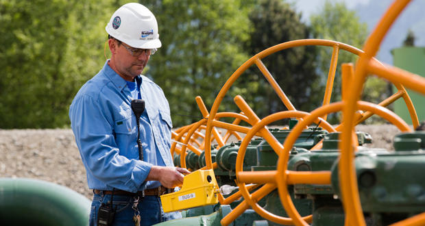 A Williams Cos. employee monitors the company's compressor station in Sumas, Wash.